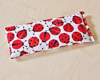 Lavender Flaxseed Eye Pillow - Red Ladybugs - Organic Aromatherapy Eye Mask