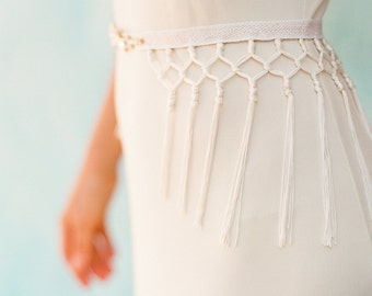 "Stunning fringe detail wedding belt with crystals and gold ""Ezra"""
