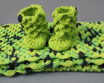 Handmade Crochet Baby Blanket & Crocodile Stitch Booties, Baby Booties, Photography Props, car seat tent canopy, Crochet Baby Blanket