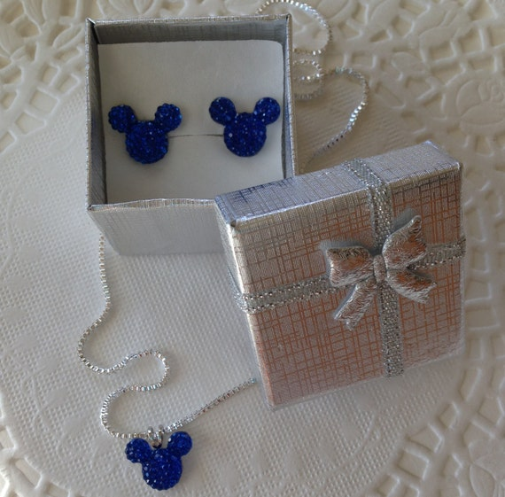 Minnie MOUSE EARS Necklace and Earrings Set-Disney Wedding Party-Royal Blue Acrylic