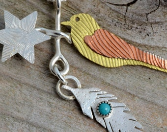 Sparrow bird necklace mixed metal sterling silver bird jewelry feather turquoise necklace totem star celestial artisan handmade unusual