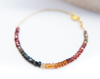Sapphire Bracelet Gold Bracelet Tunduru Earth Tones Gemstone Jewelry Ombre Bracelet Gift for Her Gift for Her Wife Daughter Special Gift