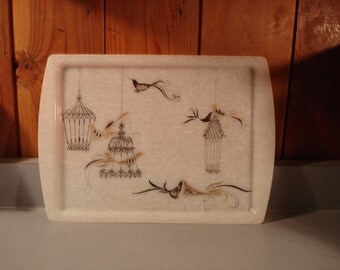 Vintage Grey Tray / Birds and Bird Cages/  Marbled Grey Plastic/ Black/grey/gold birds  12 by 17 inches