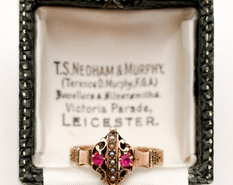 Victorian 9K Gold Ruby & Seed Pearl Ring