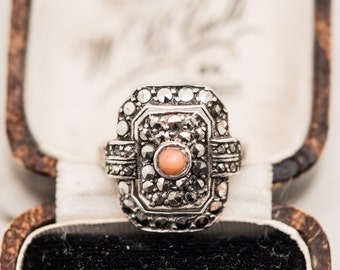 Art Deco Sterling Silver Marcasite & Coral Ring