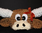 Longhorn steer hat for newborn with bow for baby girl - very cute and unique handmade animal hat  - Currently made to order