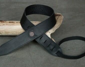 Homerun Guitar Strap in Black Baseball Glove Leather