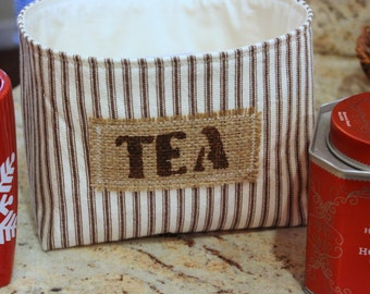 Small Ticking Striped Fabric Basket - Tea - Select Your Color