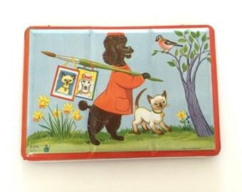 Vintage Paint Set Tin Box Poodle Dog Artist Painter Anthropomorphic Animals