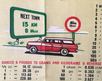 Vintage Kitchen Tea Towel Metric Conversion Chart Wall Hanging Information Textile