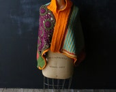 Crochet Blanket Shawl Crazy Quilt Colorful Vintage Hand made From Nowvintage on Etsy