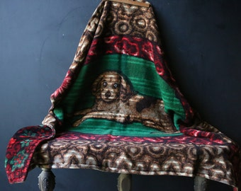 Wool Blanket Double Thick Layers With Dog Picture Woven Brown Red Green Vintage From Nowvintage on Etsy
