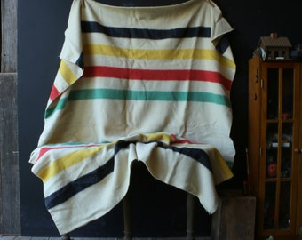 Vintage Wool Point Blanket Hudson Bay Style Multi Color Trappers Red Yellow Green Black Stripe Blanket Vintage From Nowvintage on Etsy