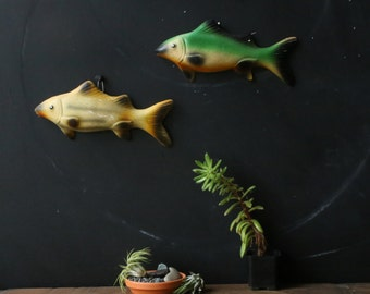 Pair of Plaster Fish Similar To Chalkware Yellow and Green  From Nowvintage on Etsy