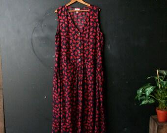 Bohemian Midi Dress Jumper Putamayo Black and Red Vintage From Nowvintage on Etsy