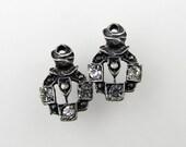 Vintage Swarovski Crystal Deco Charm Clear Rhinestone Antiqued Silver Ox Bead Drop Filigree Finding uvf0275 (2)