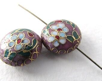 Vintage Cloisonne Beads Enamel Flower Leaf Pink Blue Green Gold Coin 16mm vgb0933 (2)