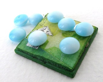 Vintage Glass Cabochon Sky Blue White 2 Tone Rounds 7mm gcb1173 (8)