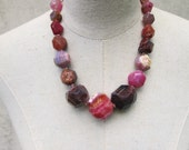 Huge Chuny Dark Pink and Brown Agate Nuggets Necklace