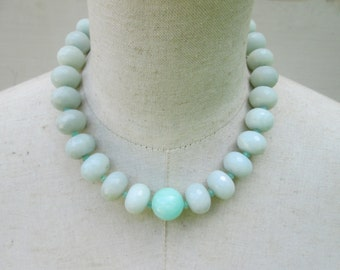 Chunky Sea Foam Aqua Mint Beaded Necklace, Amazonite Beach Beads