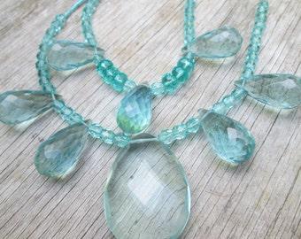 Aqua Crystal Multi Strand Beaded Layered Necklace, Double Strand Light Blue Glam Mermaid Choker