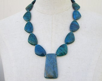 Azurite Blue Green Triangle Beads Pendant Beaded Statement Necklace