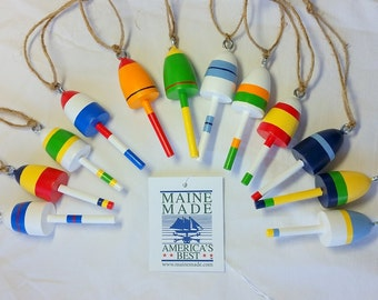 """Maine Lobster Buoys, Wedding Favors, Christmas Ornaments, set of twelve, mixed colors, 3"""" tall"""