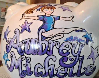 Personalized Piggy Bank Gymnastics Hand Painted