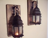 Lantern pair wall decor, Moroccan lanterns, wall sconces, housewarming gift, bathroom decor, wrought iron hook, rustic wood boards