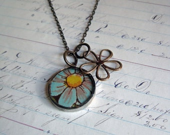 Retro Teal Hanky Flower Necklace Mothers Day Jewelry Gift One of a Kind