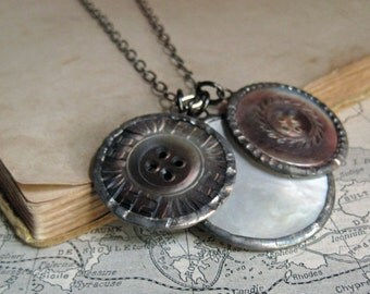 Vintage Shell Button Necklace Gunmetal Chain Recycled Jewelry Autumn