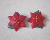 Red & green post back holiday poinsettia earrings