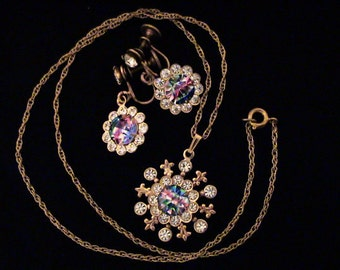 Vintage Iris Rainbow Rhinestone Pendant Necklace and Earrings Set