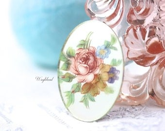 Vintage Glass Oval Mirrored Decal Flower Bouquet Cabochon 40x30mm Pink - 1