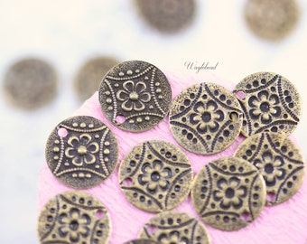 Ox Antique Brass Floral Patterned 11mm Round Charms with One Hole - 12
