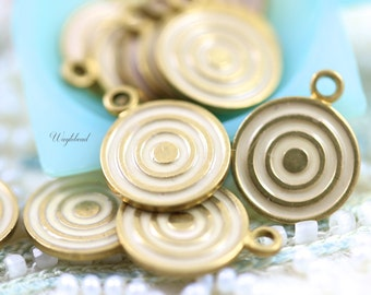 Light Pink Vintage Style Swirl Circle Charms Pendants - 4