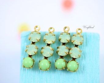 Triple Rhinestone Charms Connectors Swarovski Crystal Set Stones - Chrysolite Opal & Light Green - 4