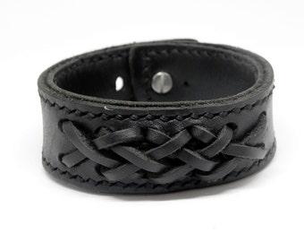 Black Leather Cuff Leather Bracelet Leather Braide Bracelet Hand Cut Hand Stitched