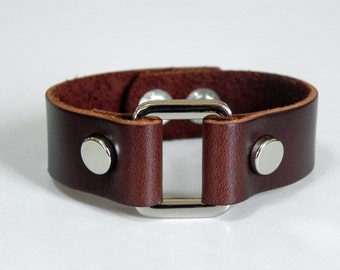 Brown Leather Cuff Leather Bracelet with Rectangle Metal Silver Tone
