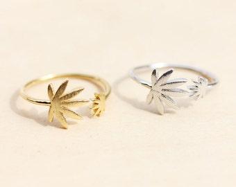 Pot Leaf Ring, Weed Ring, Mary Jane Ring, Plant Ring, Leaf Ring, Gold Weed Ring, Silver Weed Ring, Reefer Ring, Ganja Ring, Gold Ring, Ring