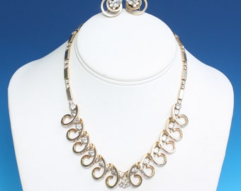 Sarah Coventry Rhinestone Necklace Earrings Set Celestial Fire 1956