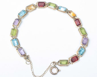 14K Gemstone Tennis Bracelet Multi Color Stones Vintage