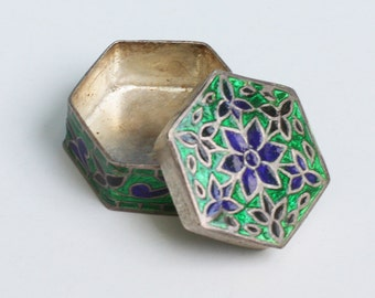Blue and Green Enameled Sterling Trinket or Pill Box Vintage