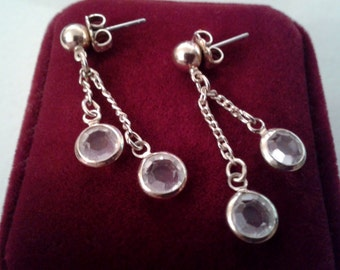 Earrings - Gold colored Dangle Earrings with Two Clear Rhinestone Crystals