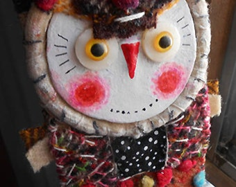 Original folk art Colorful Owl doll hand made , hand painted  OOAK by miliaart studio