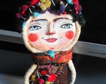Original folk art Colorful 'Pippa' doll hand made , hand painted  OOAK by miliaart studio