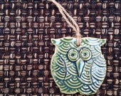 Ceramic Owl Ornament, ivy green, holiday ornament, Christmas tree ornament