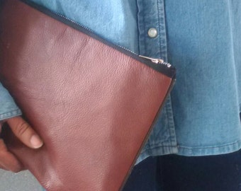 large leather brown clutch, upcycled leather clutch bag, leather bag, leather manbag, oversize pouch, kindle, tablet