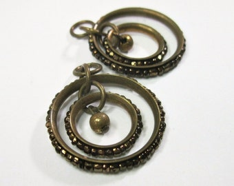 Antique Art Deco Hoop Earrings - Bronze Copper Glass Seed Beads - Need Ear Wires - 1920s 1930s