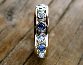 Wedding Ring with Diamonds and Blue Sapphires in 14K White & Yellow Gold with Vintage Inspired Scroll Pattern Size 4